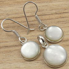 BESTSELLER EARRINGS PENDANT SET! MOTHER OF PEARL SHELL Round ! 925 Silver Plated