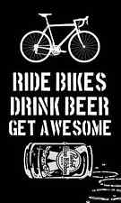 Ride Bikes - Drink Beer - Get Awesome - Cycling Bumper Sticker Decal, Fox, PBR