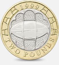 1999 £ 2 Rugby Coppa del mondo due sterlina MEDAGLIA caccia 02/32 RARA Bi-Metal Ball 2 XX