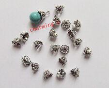20pz coppette copriperla a campanello 7x5mm  colore argento tibet bigiotteria