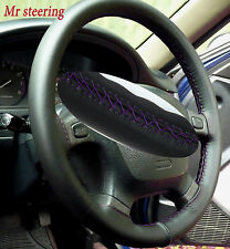 FOR CHRYSLER CROSSFIRE 03-07 BLACK LEATHER STEERING WHEEL COVER PURPLE STITCHING