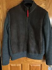 PRADA SPORT Men's Shearling Leather and Wool Jacket Coat 42