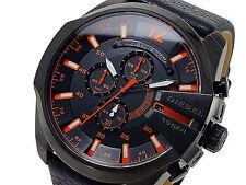 NWT Diesel Men's Watch Black Leather Black Orange SS Case MEGA CHIEF DZ4291 $240