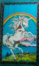 TURKEY RUG HANGING ON WALL (UNICORN UNDER RAINBOW)100% COTTON SIZE:(90CMX140CM)