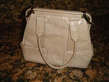 VINTAGE JUDITH LEIBER Light Beige Reptile Leather Gold Tone Clasp Close Handbag