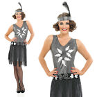 Ladies 1920s Silver Cocktail Girl Fancy Dress Costume Charleston Flapper Outfit