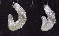 Lucite twist post hoop earrings white Aurora Borealis rhinestones lightweight