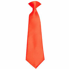 New 100% Polyester Kids Clip On Pre Tied Neck tie solid orange Size 14