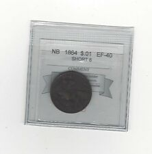 **1864**, Coin Mart Graded New Brunswick, One Cent, **EF-40**Short 6