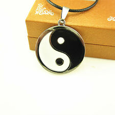 18'' Stainless Steel Yin Yang Tai Chi Amulet Pendant Leather Chain Necklace