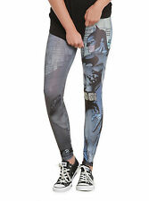 DC COMICS - BATMAN - ANIME - GREY - BLUE - LEGGINGS - XL - 15/17 - BRAND NEW