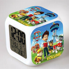Kids Children Baby Cute Paw Patrol 7 Color Changing Night Light Alarm Clock Toy