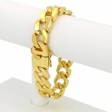 "Mens 14k Gold Plated Plain Hip Hop 18mm 9"" Heavy Miami Cuban Chain Bracelet"