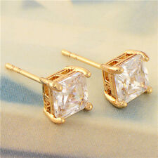 Men's Women's Square Stud Earrings Fashion 18K Yellow Gold Plated Clear CZ