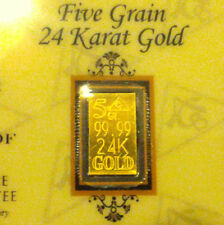 ACB Gold 5GRAIN BULLION MINTED Bars 9999 fine w / certificate of authenticity