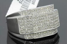 .76 CARAT 100% GENUINE DIAMONDS MENS WHITE GOLD FINISH ENGAGEMENT PINKY RING