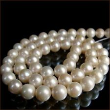 AAAA+ 9-10mm Near Round genuine white freshwater Pearl loose beads strand 15""