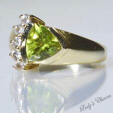 Laura Ramsey Designer 14K Yellow Gold Peridot Ring Size 7