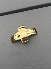 Hirsh Pusher Clasp Butterfly Deployment Watch Gold 16mm For Leather Strap