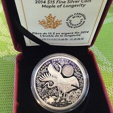 Canada 2014 $15 MAPLE OF LONGEVITY Silver Coin - Cranes Hologram 99-CENT AUCTION