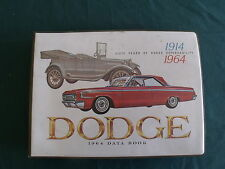 1964 Dodge Data Book Dealer Showroom Color & Upholstery Book