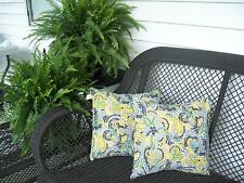 16x16 100% Poly Outdoor Pillow Cover (2) Richloom Solarium Irondale Sterling