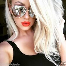 "MIRROR ""SILVER STAR"" Aviator Silver Reflective  Oversized Women  Men Sunglasses"