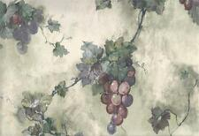 Wallpaper Designer Purple Plum & Green Grapevine on Green & Cream Tuscan Faux