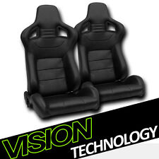 JDM MU Style Black PVC Leather Reclinable Racing Bucket Seats w/Sliders Pair V14