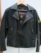 BELSTAFF VINTAGE MADE ENGLAND MENS BIKER BLACK WAXED COTTON LEATHER JACKET L