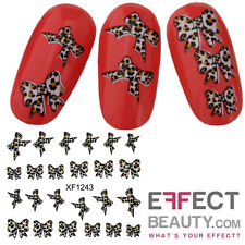 3D Nail Art Sticker  Water Transfer Decals - Leopard Bows - XF1243