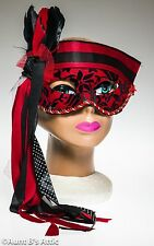 Mardi Gras Mask Black & Red  Fabric Covered Plastic Eye Mask With Ribbon Ties