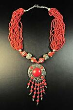"THE ""EMPRESS"" ETHNIC  RED VINTAGE NECKLACE MEDALLION STATEMENT PIECE (CL13)"