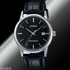 Casio MTPV002L-1A Mens Analog Watch Leather Band Silver Black Date Display New