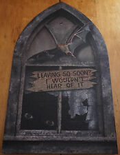 LIGHTED FULL SIZE HAUNTED HOUSE WINDOW Halloween Bats Spider Home Decor NEW
