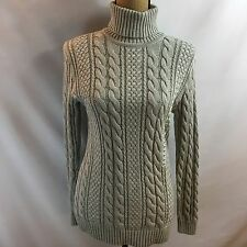 Jeanne Pierre Silver Grey Heather Knit Turtle Neck Sweater NWT $68 Women Small