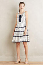 ANTHROPOLOGIE Eva Franco NWT Orchard Hill Dress Fit & Flare White Navy Sz 4 $168