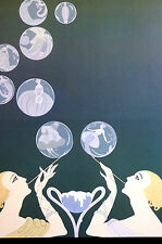 Erte 1982 BLONDE GIRLS BLOWING FASHIONABLE BUBBLES Art Deco Fashion Print Matted
