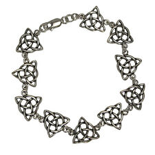 "Sterling Silver Celtic Triquetra Knotwork Bracelet (6"") Trinity Knot Jewelry"