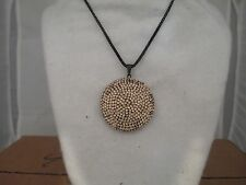 Peach Colored Crystal Encrusted 35mm Circle Pendant 16 Inch Black Necklace