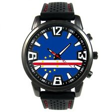 Cape Verde Country Flag Mens Black Silicone Bracelet Quartz Wrist Watch S38F