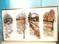 4 Seasons Needlepoint Wall Hanging Handmade Framed and Padded With Poem