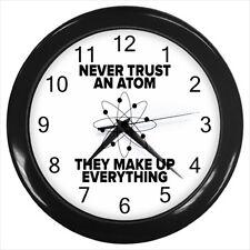 Never Trust An Atom Wall Clock (Black) - Physics Nerd