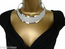 Sexy Glittery Silver Collar Choker Statement Necklace with Extension chain