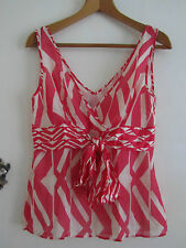 Pink & Cream Pattern Monsoon V Neck 100% Silk Sleeveless Top in Size 12 - NWOT