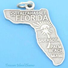 FLORIDA STATE MAP MIAMI SARASOTA PALM BEACH .925 Solid Sterling Silver Charm