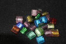 Handmade silver foil square glass beads - jewellery making - square beads