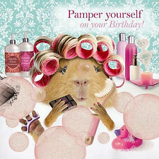 Funny Guinea Pig Birthday Card Bubble Bath 'Pamper yourself on your Birthday'