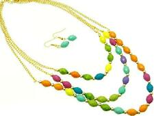 THREE LAYERS MULTI COLOR LUCITE FACETED BEAD GOLD TONE LINK NECKLACE EARRING SET