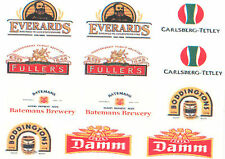 12 BEER RELATED DECAL WATERSLIDES ideal FOR MODELS CODE 3 NEW ie dinky lledo